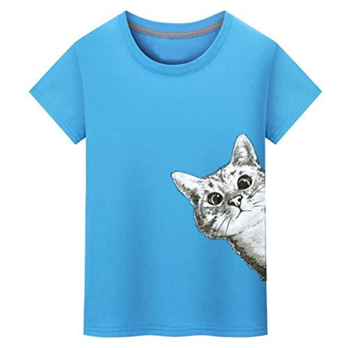 ♚Camiseta Hombres,Blusa de Manga Corta con Estampado de Gatos Absolute