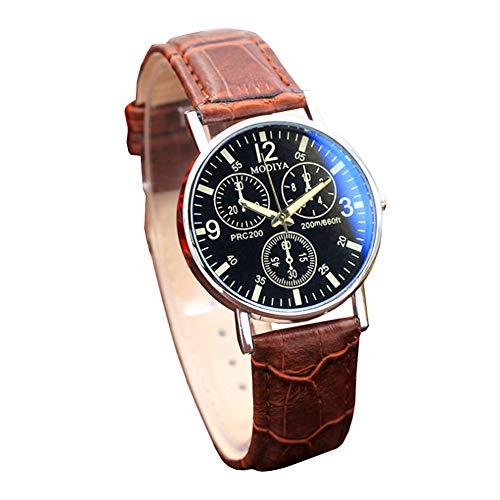 Männer DREI-Augen-Uhr-Quarz analog Blu-Ray-Glas-Uhr mit Lederarmband-Stunden-Armbanduhr (braun und schwarz) (Leder-uhr-bereitstellung Gurt)