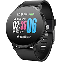 SoloKing Multifunción Reloj Inteligente con Pulsómetros,Monitor de Sueño,Podómetro,Caloría,Control de la Música Pulsera Actividad Notificación de Llamadas/SMS/Whatsapp (Negro)