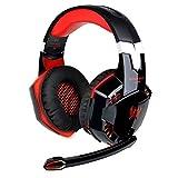CSZH Game Gaming Kopfhörer Headset Kopfhörer Stirnband mit Mikrofon Stereo Bass LED-Licht für Xbox One PC Laptop Tablet Mac Smart Phone (Rot)