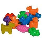 Plastik Perlen Tiere zum Auffädeln Kinder Ketten basteln, selber machen - 4 Motive Hund, Katze, Fisch, Bär - 1kg/525 Stk