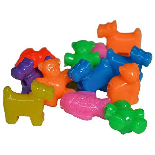 35 Kunststoff Perlen Tiere zum Auffädeln und Kinder Ketten basteln - Motive Hund, Katze, Fisch, Bär - 65g