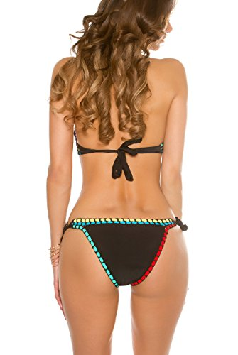 jowiha® Häckel Bikini Set im Boho Style Schwarz