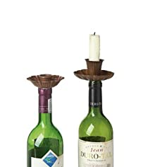 Metal Flower Candle Taper Holders & Bottle Stoppers, Rust Color 2pk