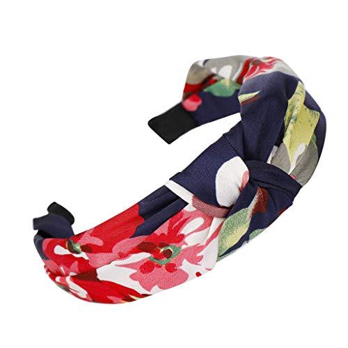 HAUXIN❤ Haarband Headband Elastische Blume gedruckt Sportliche Haarreif Damen Vintage Haarband Stoff Blume Stirnbänder Braut Haarschmuck Hochzeit Kopfschmuck Mehrfarbig Kopfband Haarspange