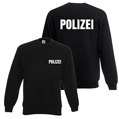 Shirt-Panda Herren Polizei Sweatshirt - Druck Brust & Rücken Reflex Schwarz (Druck Weiß) L