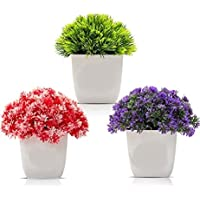 PUHUHP Artificial Beautiful Cute Mini Flower Plants with Pot Plastic Green Red Blue Grass Fake Topiaries Shrubs for Home…