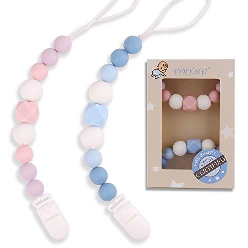 TYRY.HU Clips para chupete de silicona para bebé Cadenas de chupete Perlas de dentición Cadena de chupete Regalo de ducha infantil Juguetes para dentición Juguetes para aliviar la dentición Portamatrículas para niñas BPA Free 2 Paquetes (Rosa / Azul)