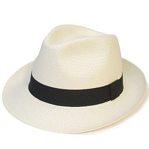 Panama Hat Plain Woven With Black Band - White (XL)