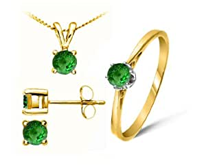 Attractive 9 ct Gold Ladies Solitaire Earrings + Pendant + Ring with Tsavorite 1.24 Carat - 45cm*9mm*5mm Size J
