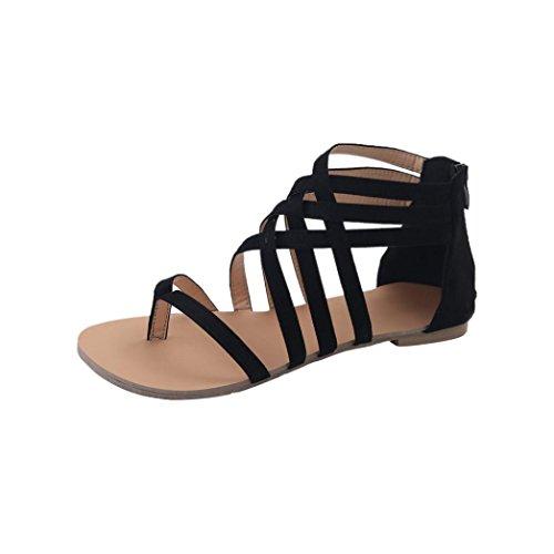 Honestyi Frauen Bohemian Flachen Sandalen Schuhe Gladiator Flops Strap Flip Toe Schuhe Transparente Starke Ferse Hochhackige Schuhe Sandalen (39, Grau)