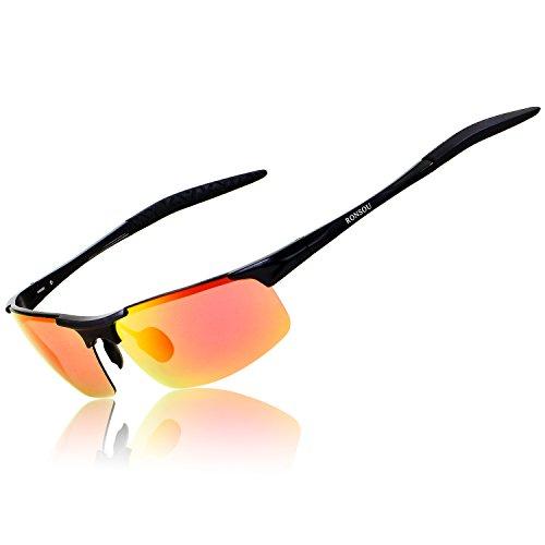 RONSOU Herren Sport Al-Mg Polarisiert Sonnenbrille Unzerbrechlich zum Fahren Radfahren Angeln Golf schwarz rahmen/rot linse