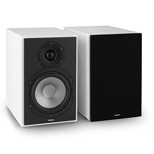NUMAN Reference 802 • Regal-Lautsprecher • Lautsprecher-Boxen • HiFi-Boxen • Lautsprecher-Paar • high-end Boxen • 2-Wege-System • Spitzenleistung 120 Watt • 4 Ohm • schwarzes Cover • weiß