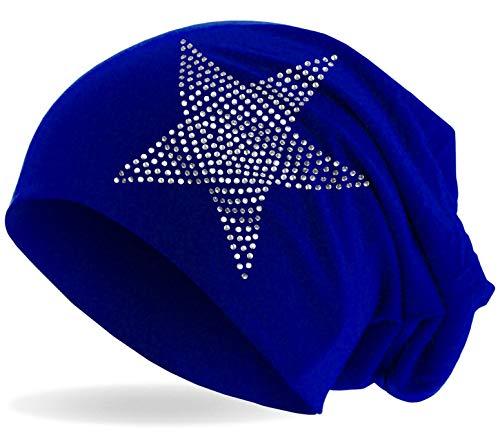 Hatstar Damen Winter Mütze Häckelmütze/Strickmütze mit Fellbommel Pudelmütze (royal)