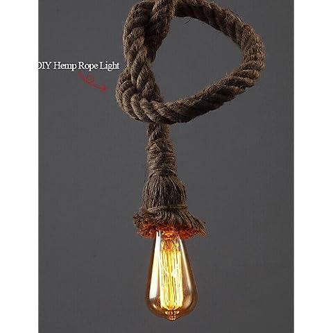 Gweat 1 Luce Arte Di Diy Canapa Corda Luce Creativa Corda Della Canapa Droplight Lungo 150Cm Invia 1 Lampadina