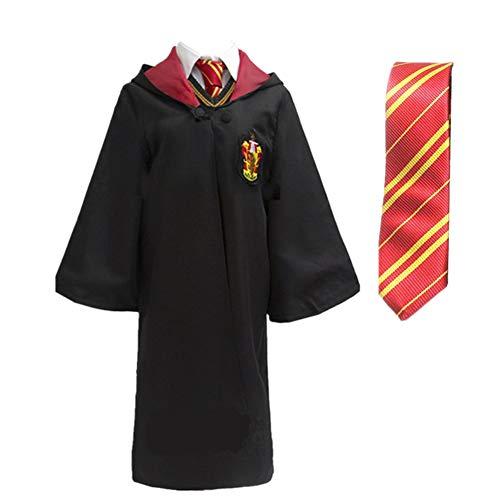 LOVCRY Halloween Umhang Karneval Kostüm Cosplay Zauberei Cape mit Krawatte (Rot, XL) (Gryffindor Halloween Kostüme)