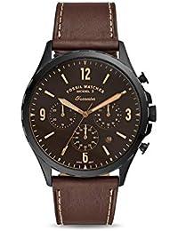 FOSSIL Cronografo Forrester quadrante nero con cassa in acciaio e cinturino in pelle marrone per uomo Orologio FS5608