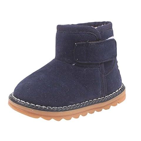 Bluestercool Bébé chaussures bottes de neige Filles Garçons Enfants d'hiver épais de fourrure Chaussures (24, Marine)
