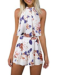 afdd3c03f00 DHASIUE Sexy Playsuits for Women Romper Shorts Jumpsuits Floral Print 2  Piece Summer Outfits UK Size