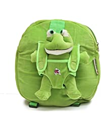 Bazaar Pirates Frog Soft Toy School Bag For Kids ( Green )