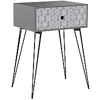 vidaXL Nightstand with 1 Drawer Rectangular Grey Bedroom Bedside Table Stand