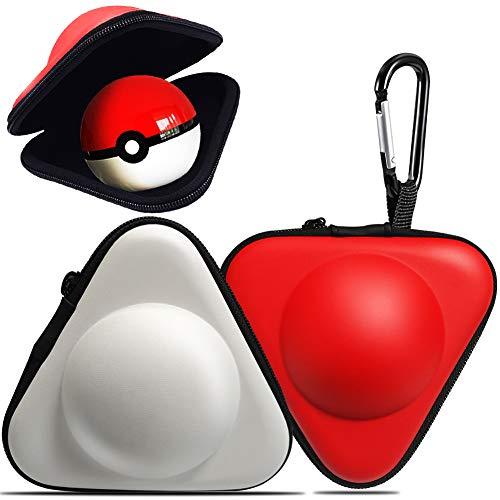 Reise-Tragetasche für Nintendo Switch Pokeball, dreieckig, stoßdämpfend, Harte Eva-Schutzhülle für Nintendo Switch Poke Ball Plus Controller (Rot und Weiß) -
