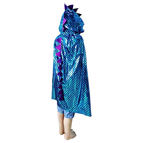 GFEU Kinder Halloween Kapuzen Mantel Dinosaurier Pailletten Kostüm für Dress Up Pretend Play Fantasy Robe (Blau)