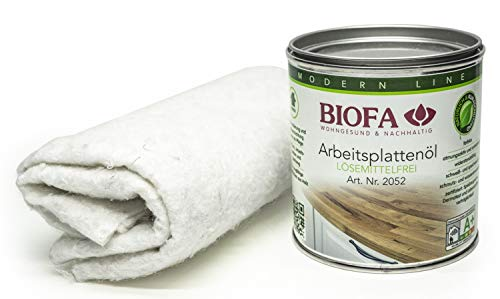 Biofa Arbeitsplattenöl 2052 | 0,375 Liter | Set mit 2 Ölsaugtüchern | NEU