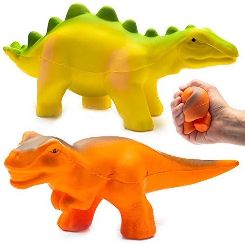 Prextex Jumbo-Packung mit 2 Dinosaurier Squishy-Spielzeugen, T-Rex und Stegosaurus Spielzeugdinosaurier