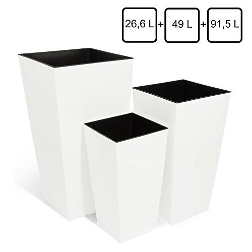 Mix 3 vasi per piante serie Coubi URBI SQUARE 26,6Lt 49Lt 91,5Lt con inserti colore: bianco