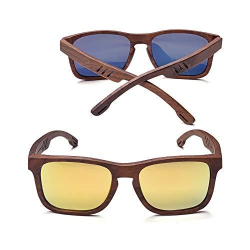 Zbertx Uv400 polarisierte walnuss vollholz Sonnenbrille Mode Sonnenbrille für Frauen männer gelb grau objektiv cool Handmade, a1