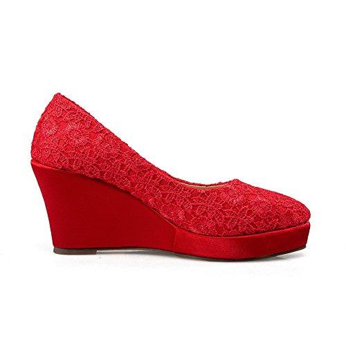 VogueZone009 Damen Ziehen Auf Spitz Zehe Hoher Absatz Blend-Materialien Rein Pumps Schuhe Rot