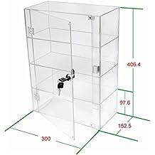 1brillante vitrina expositora de acrílico transparente con puerta delantera y bloqueo de seguridad DB088A-06IN