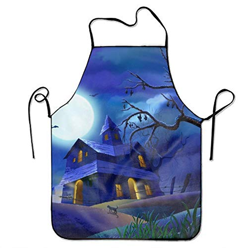 best pillow Blue Halloween Castle Lightweight Adjustable Unisex Apron Gift Idea Artists Aprons