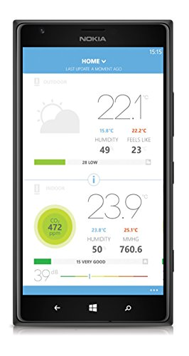 413D1Dk047L [Bon Plan Netatmo] Netatmo Station Météo Intérieur Extérieur Connectée Wifi pour Smartphone - Capteur Sans fil - Thermomètre, Hygromètre, Baromètre, Sonomètre, Qualité de l'air - Compatible avec Amazon Alexa