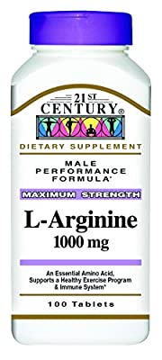21st Century Health Care, L-Arginine, Maximum Strength, 1000 mg, 100 Tablets