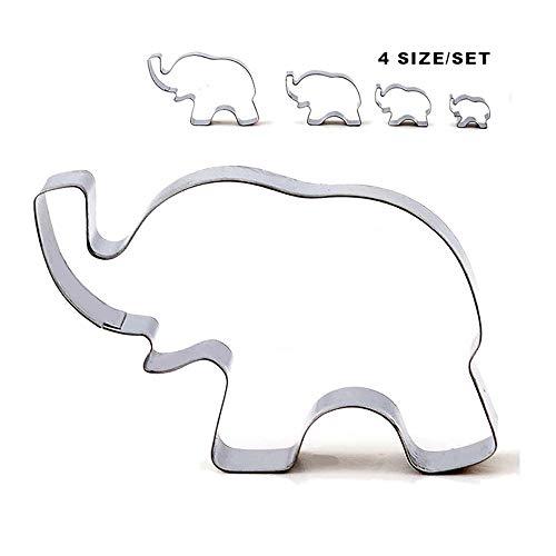 4Edelstahl Elefant Ausstecher, Elefant Form Cookie Form Backen Biscuit Mould, Tier Cookie Cutter Set DIY Backen Tools Shaped Cookie Cutter Set