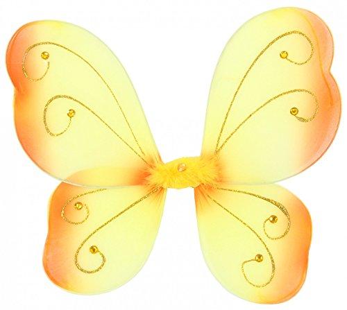 Schmetterlingsflügel für Mädchen | Feenflügel gelb Tier Feen Flügel Fee Elfenflügel Mädchen Elfen Elf Zubehör Schmetterling Fasching Party Kostüm Mädchenkostüm Tierkostüm orange (Niedliche Mädchen Elfen Kostüm)