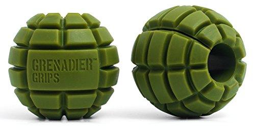 Grenadier Grips - Poignées uniques à prise large pour haltères/barres à disques, pour une prise de masse énorme, une puissance explosive, une plus grande force de préhension, un travail des muscles des bras plus poussé, pour le crossfit, l'escalade et le grappling ...