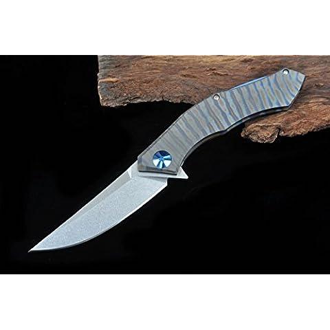 ¡Calcio. Tasca della luna blu della pellicola del coltello della pellicola D2 Maniglia Titanium TC4 Cuscinetto A Sfere attrezzi Flipper tattico coltelli Que acampan al aire libre