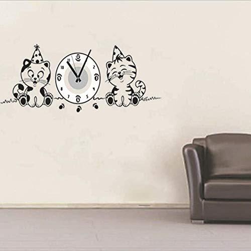 Vakiko Thematische Kinder Wanduhr Aufkleber Beste Tiere Katze für Kinderzimmer Dekor Handgemalte Details