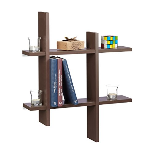 Relaxdays 10021818_93 scaffale da parete con 6 scomparti, mensole sfalsate, hxlxp 58,5 x 58,5 x 10 cm, marrone