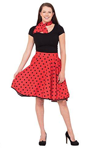 Bristol Novelty AC049B n Roll Rock, Rot, Size 10-14 (Grease Pink Damen Kostüme Ideen)