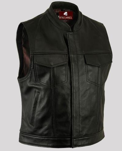 Espace-biker - Gilet in pelle da motociclista, stile Sons of Anarchy