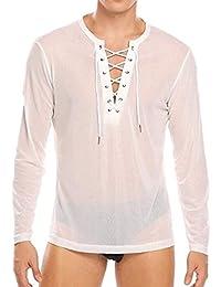 iiniim Herren Langarm Shirt Transparent Mesh Slim Fit T-Shirt Männer Tops  Reizvoll Party Club Shirt Unterwäsche… 7f92d03fe2