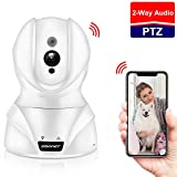 SMONET [Newest] Pet Camera 720P WiFi IP Camera, Wireless IP Camera Pet/Cat/Baby Camera Remote Monitor with Two-Way Audio,Motion Detection,Night Vision,PTZ,Data Safe for Home Surveillance Security