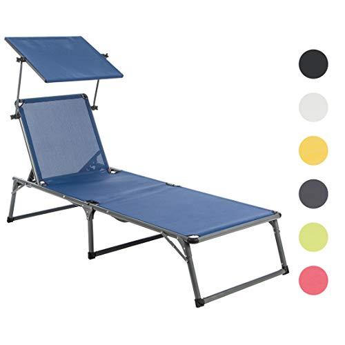 Ultranatura Aluminium Sonnenliege Nizza mit Dach, platzsparende Gartenliege, ideal für Garten und Camping, faltbar verstellbare Rückenlehne, wetterfest, 193 x 67 x 32 cm, blau