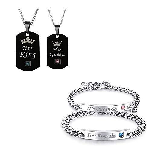 06d3dbd71b9d JewelryWe 2 pcs Pulseras de Amantes Parejas His Queen Her King