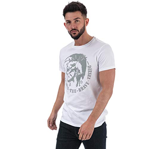 Diesel Herren 00SQXC T-Shirt, Weiß (100), Large -