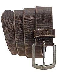 Harrys-Collection HC Herren Damen Ledergürtel Büffelleder mit massiver Altsilberschließe Vintage, Farben:dunkelbraun, Bundweite:Bundweite 110 = Gesamtlänge 124